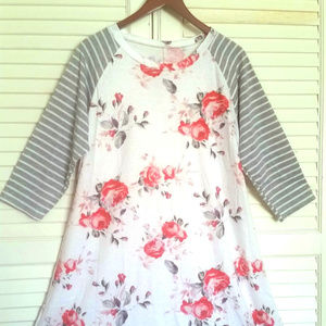 Dresses & Skirts - Floral Print Tshirt Dress with 3/4 Stripped sleeve
